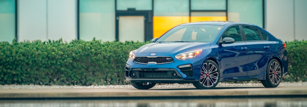2020 Kia Forte GT blue side front view