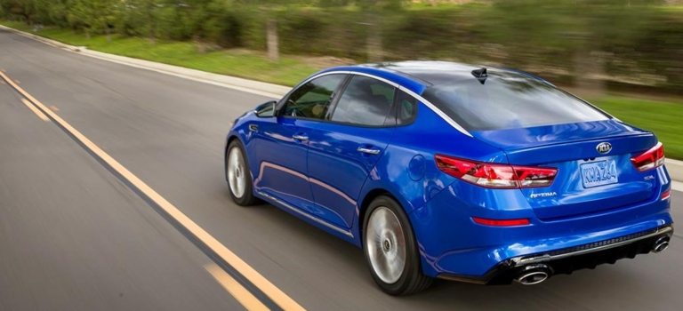 2019 Kia Optima blue back view