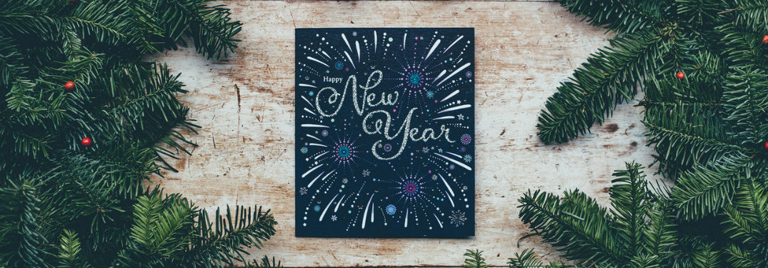 New Year on a chalkboard with holiday background