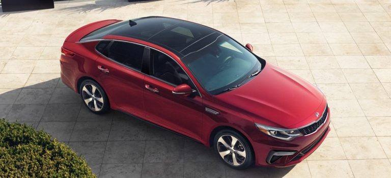 2019 Kia Optima red top view with panoramic sunroof