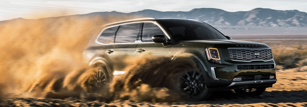 2019 Kia Telluride green side view in the sand