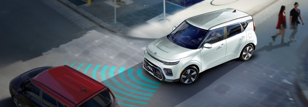 2020 Kia Soul white detecting another car with radar lines