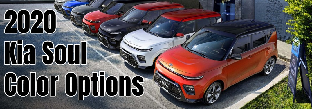 2020 Kia Soul in a wide range of color options in a parking lot
