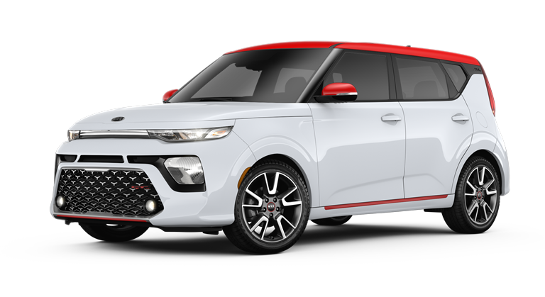 2020 Kia Soul Clear White and Inferno Red two-tone side view