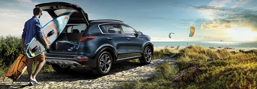 2020 Kia Sportage blue at the beach