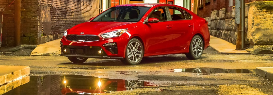 2019 Kia Forte red side view in an alley