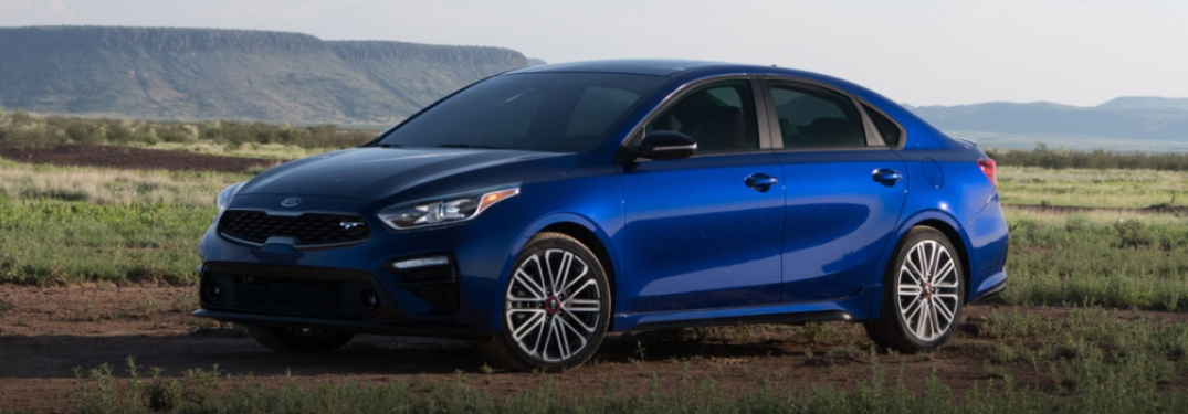 2020 Kia Forte blue side view in a field