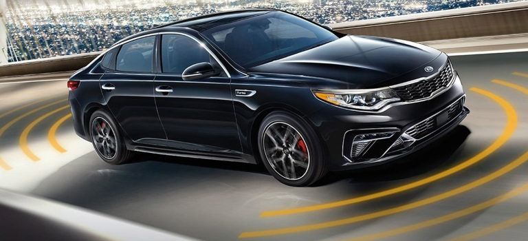 2020 Kia Optima black side view with orange sensor lines