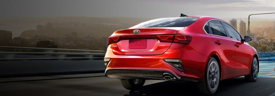 2020 Kia Forte rear view while driving on road