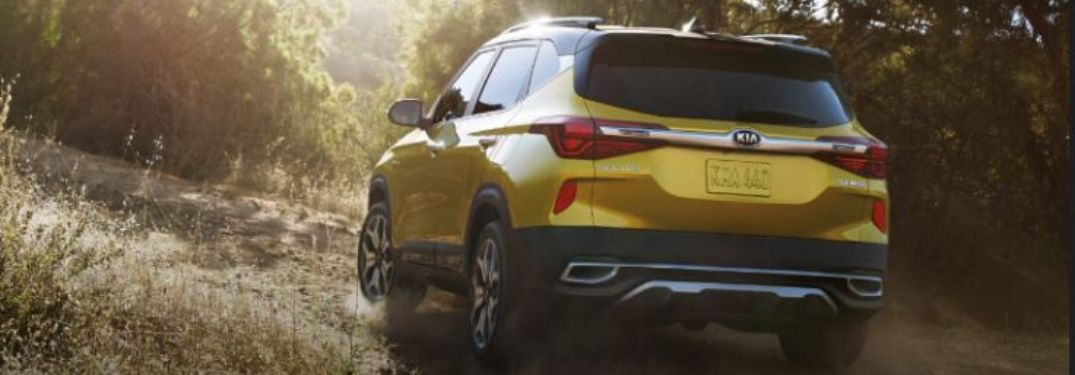 2021 Kia Seltos rear view driving up a dirt road