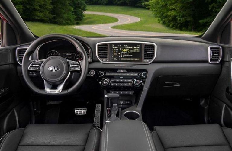 2020 Kia Sportage interior dash and wheel view