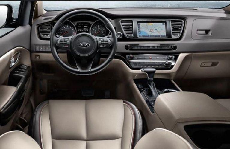 2021 Kia Sedona interior dash and wheel view