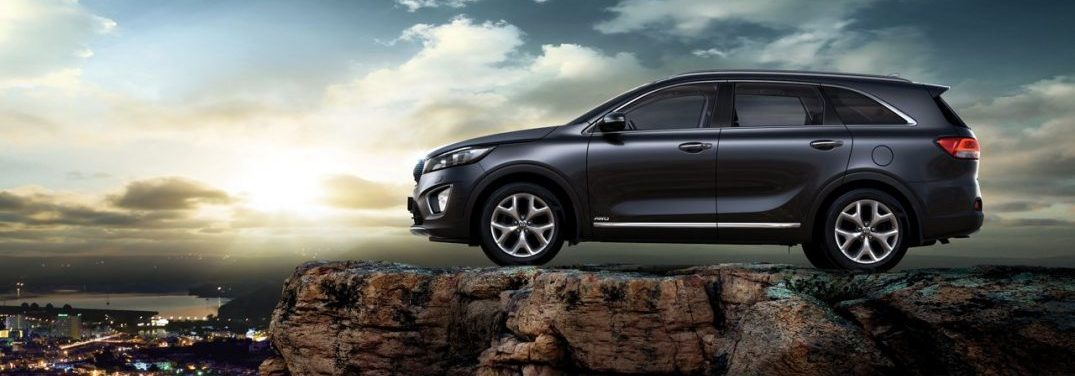Drivers side profile of the 2018 Kia Sorento on a mountain overlooking a city