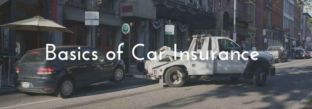 Tow Truck pulling a vehicle with text reading Basics of Car Insurance overlaid