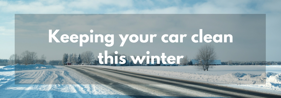 An empty street covered in snow with text overlain reading Keeping your car clean this winter