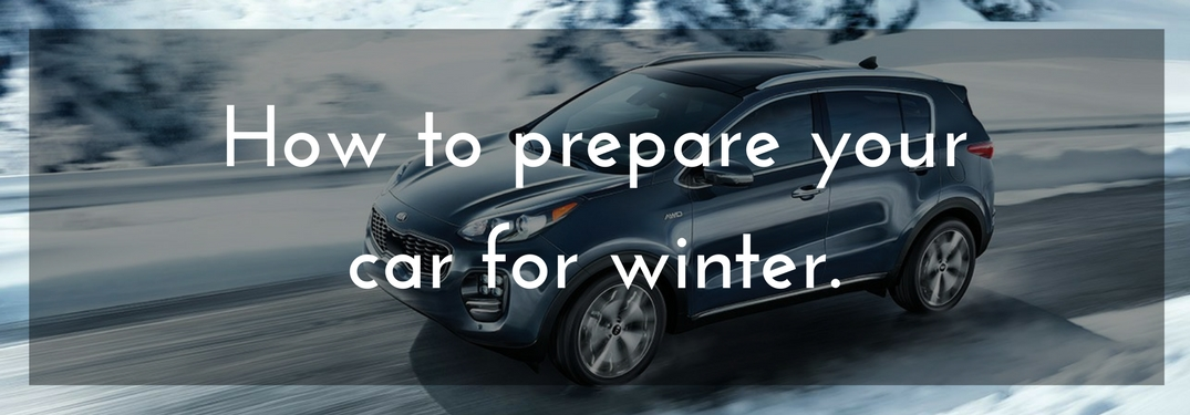 2018 Kia Sportage driving on snow with text reading how to prepare your car for winter overlain