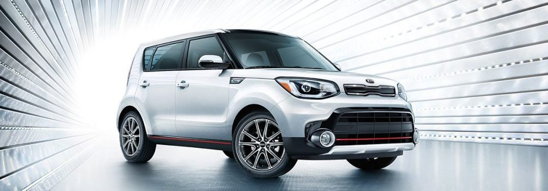 Silver 2018 Kia Soul in a tunnel of metallic beams
