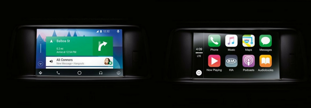 Examples of Android Auto and Apple CarPlay displayed on a 2018 Kia vehicle's infotainment system