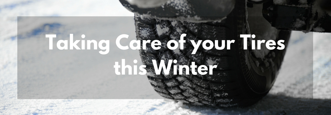 Close up of a tire driving on snow with text taking car of your tires this winter overlaid