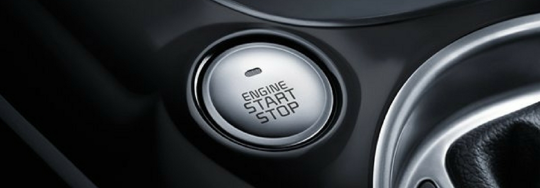 Closeup of the engine start/stop button in the 2018 Kia Soul