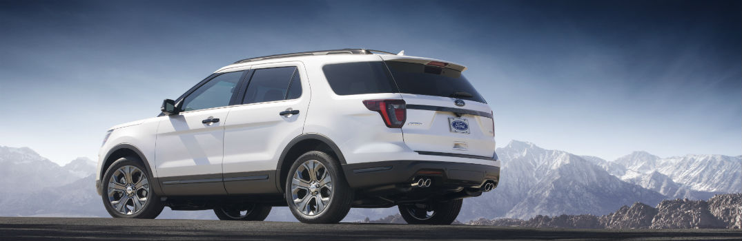 2018 ford explorer rear view by mountains