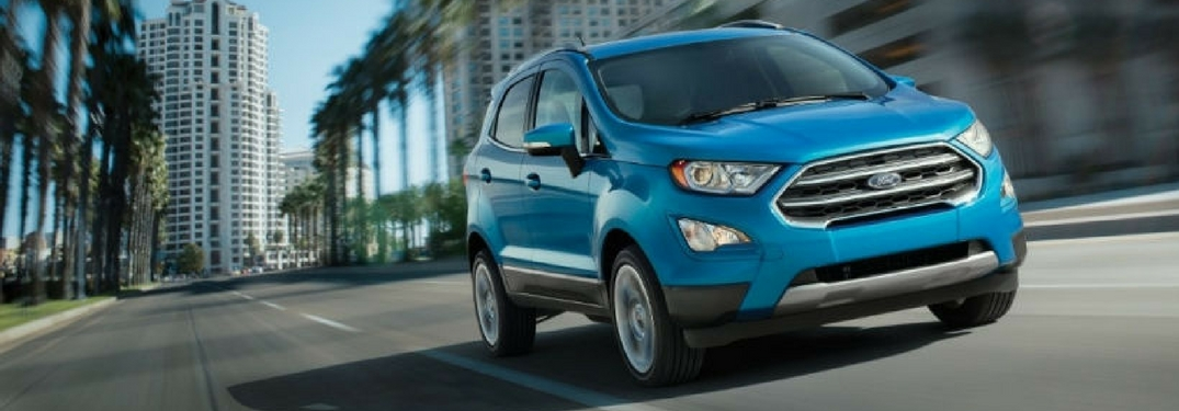 2018 ford ecosport in blue candy driving