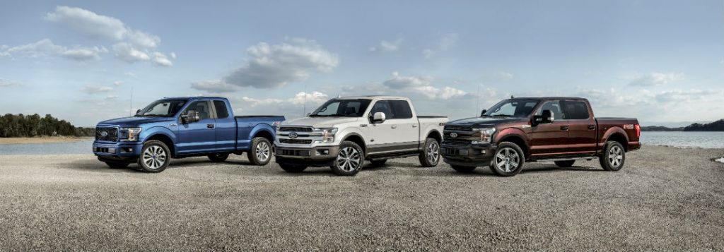 2018 ford f-150 models line up outdoors