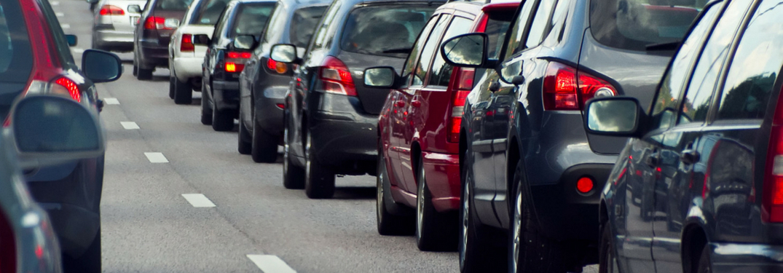 multiple cars in a traffic jam
