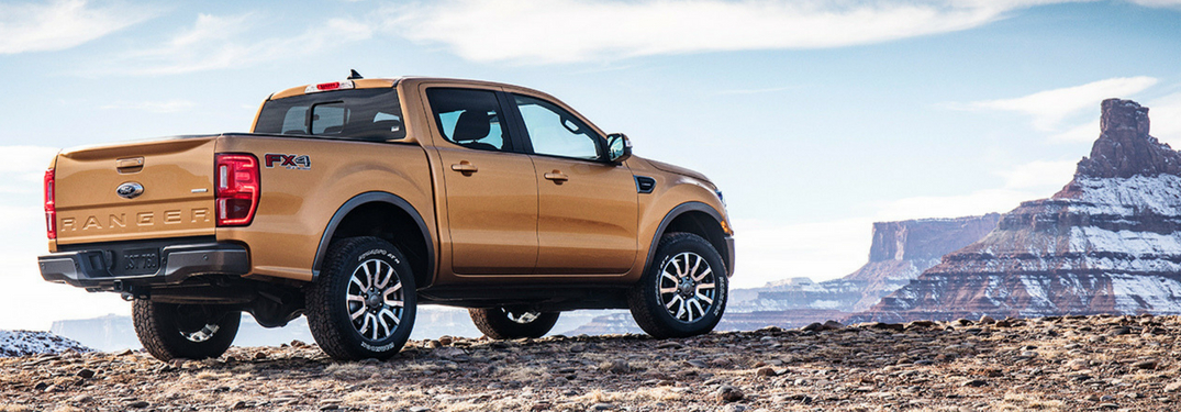 2019 ford ranger rear view by mountains