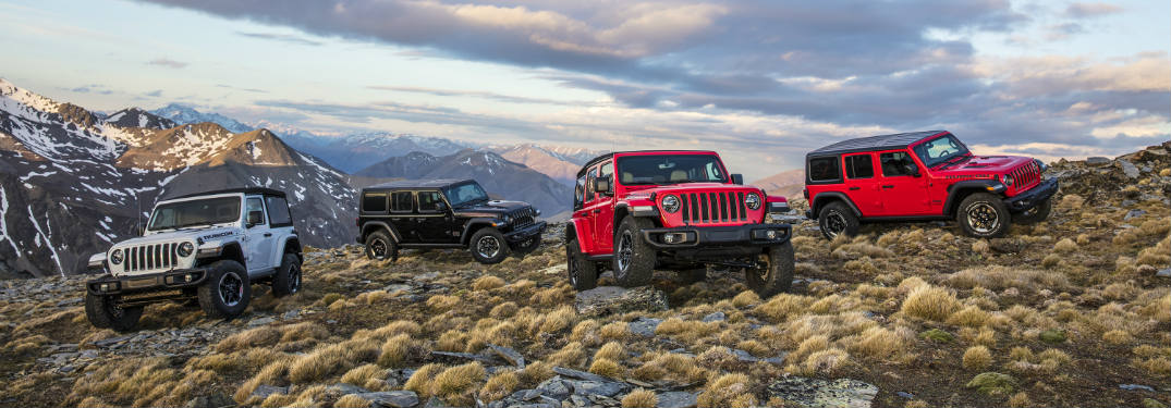 Four 2018 Jeep Wrangler models on hill