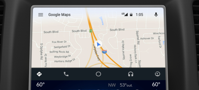 Uconnect screen with Android Auto