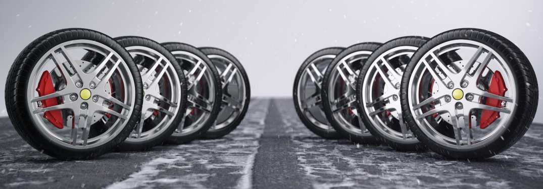 Chrome wheels with snow