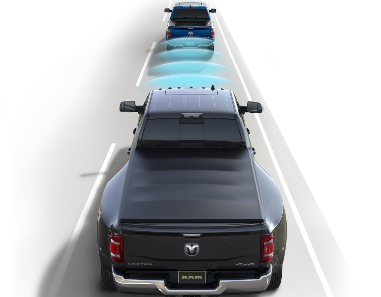 RAM truck with visualized radar detecting traffic