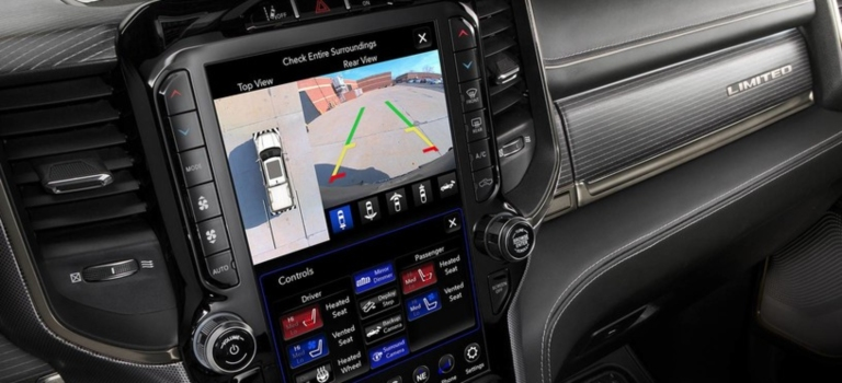 2019 RAM 1500 with 12-inch screen and surround view camera