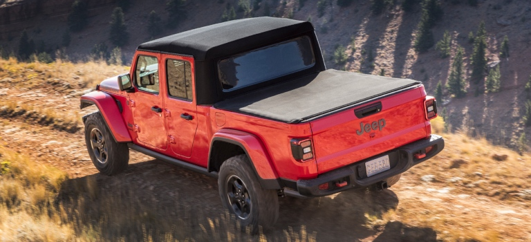 2020 Jeep Gladiator red back view with black soft top