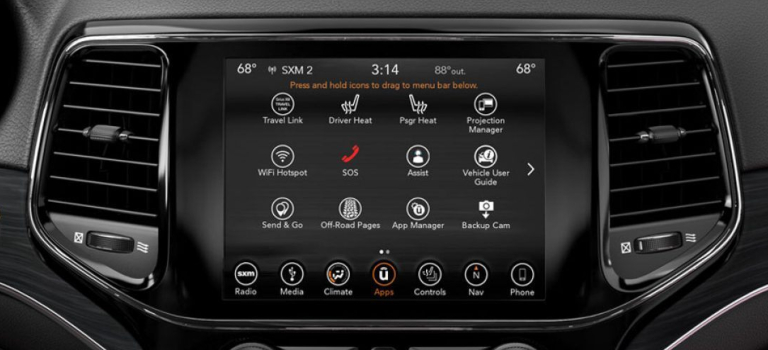 2019 Jeep Grand Cherokee Uconnect screen apps