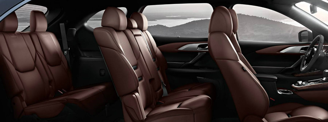 2019 Mazda CX-9 interior 2-row seating of red auburn nappa leather upholstery