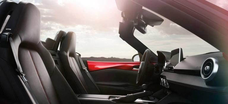 2018 Mazda MX-5 Miata with black leather seats