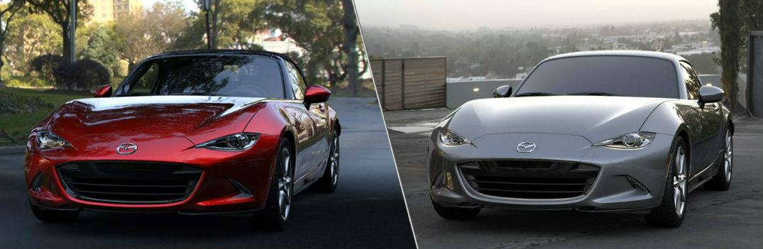 2019 Mazda MX-5 Miata and 2019 Mazda MX-5 Miata RF side by side with red and silver color options