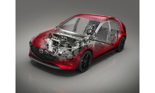 2019 Mazda3 redesign exterior shot with translucent frame to show interior technology components