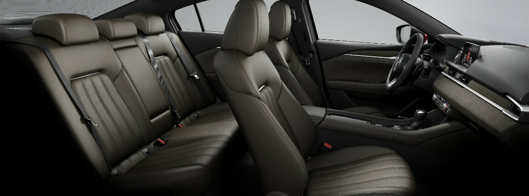 2018 Mazda6 interior side shot of front and back row seating with leather upholstery