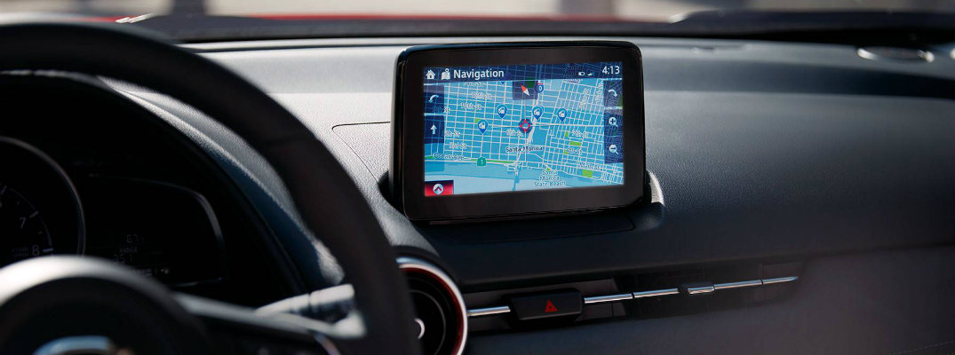 Mazda Navigation being used on the MAZDA CONNECT infotainment system screen inside a 2019 Mazda CX-3 subcompact SUV