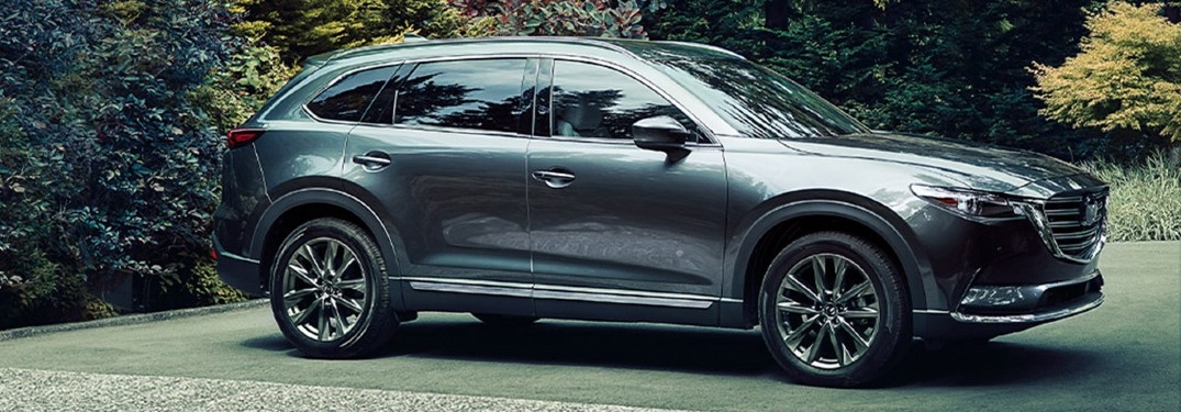 A silver 2020 Mazda CX-9 parked in a forested area.