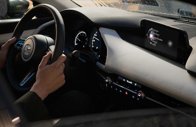 The front interior of a 2020 Mazda3 Sedan Premium trim.